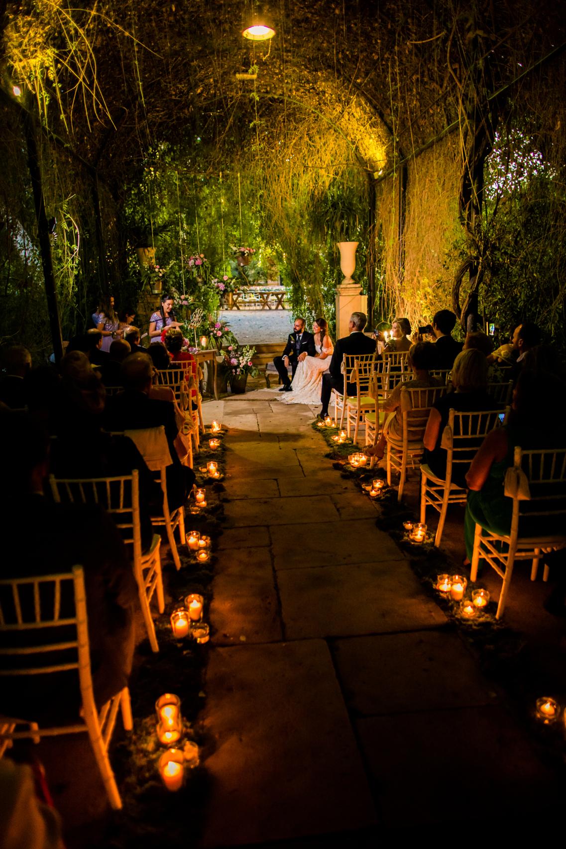 Boda de noche en los Jardines de Abril 28